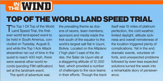 TOP 1 OIL -  Top of the world land speed trail